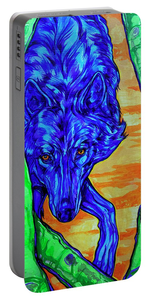 Wolf Portable Battery Charger featuring the painting Blue Wolf by Derrick Higgins