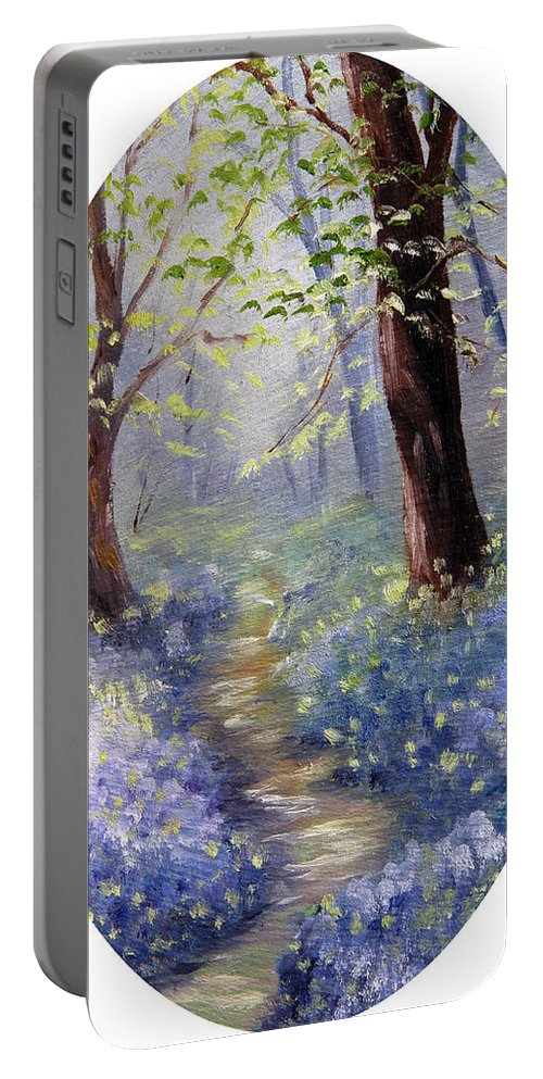 Bluebells Portable Battery Charger featuring the painting Bluebell Wood by Meaghan Troup