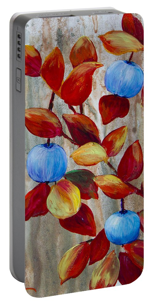 Blueberry Portable Battery Charger featuring the painting Blueberries by Dee Carpenter