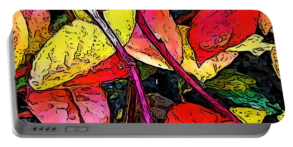 Blueberry Bush Portable Battery Charger featuring the digital art Blueberry Autumn Leaves by Gary Olsen-Hasek