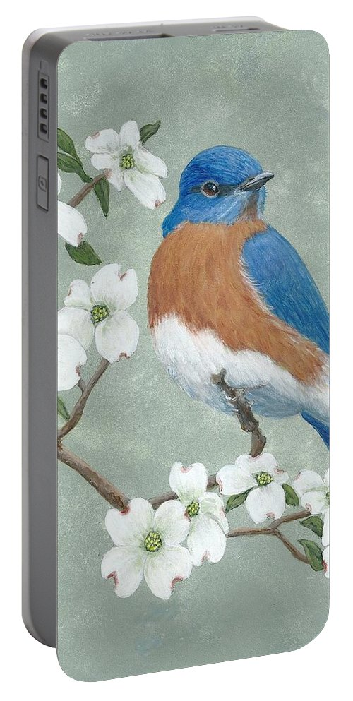 Bluebird Portable Battery Charger featuring the painting Bluebird And Dogwood by Fran Brooks