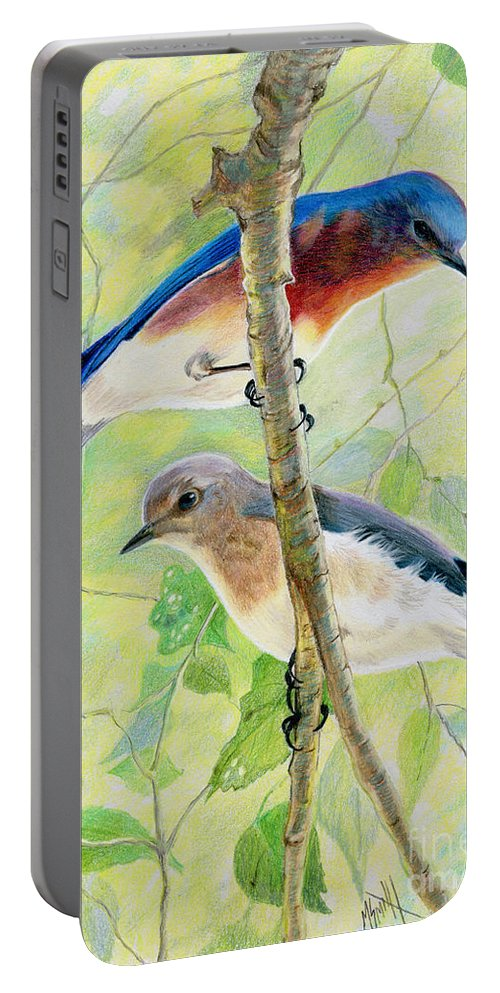 Bluebirds Portable Battery Charger featuring the drawing Bluebird Pair by Marilyn Smith