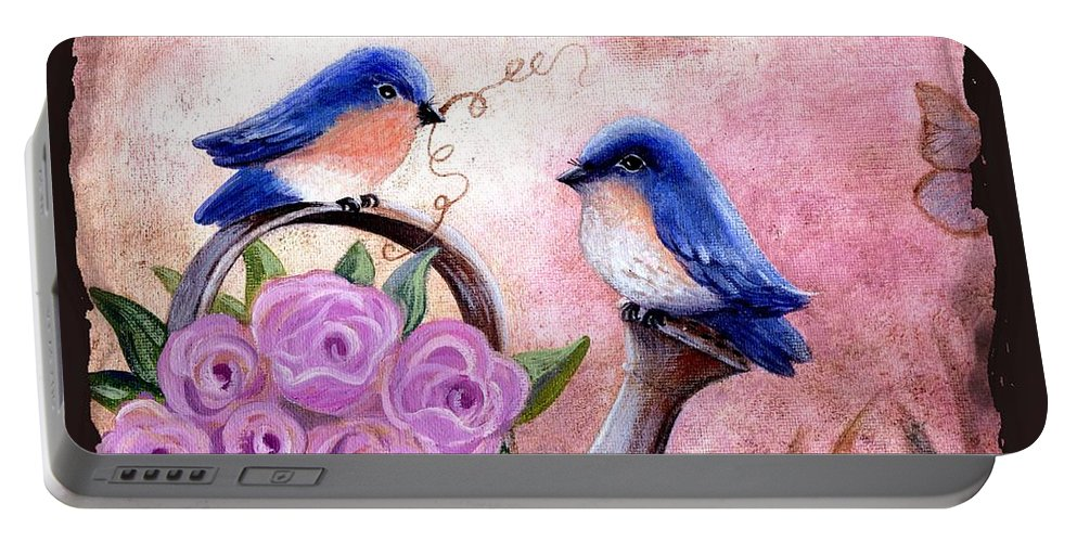 Shabby Chic Portable Battery Charger featuring the painting Bluebirds And Butterflies by Marilyn Smith