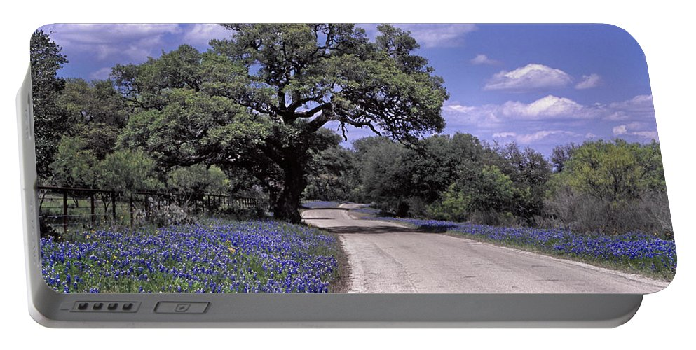 Blue Portable Battery Charger featuring the photograph Bluebonnet Road by David and Carol Kelly