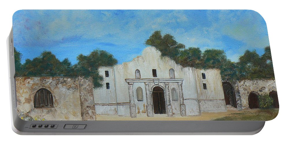 The Alamo. Bluebonnets. Landscape Portable Battery Charger featuring the painting Bluebonnets At The Alamo by Cheryl Damschen