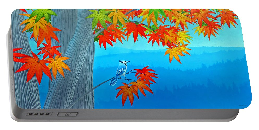 Duane Mccullough Portable Battery Charger featuring the painting Bluejay In The Fall by Duane McCullough