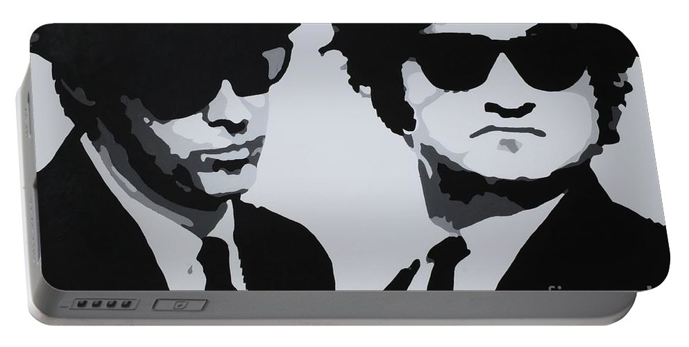 Blues Brothers Portable Battery Charger featuring the painting Blues Brothers by Katharina Filus
