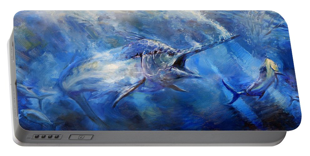 Fish Portable Battery Charger featuring the painting Blues by Tom Dauria