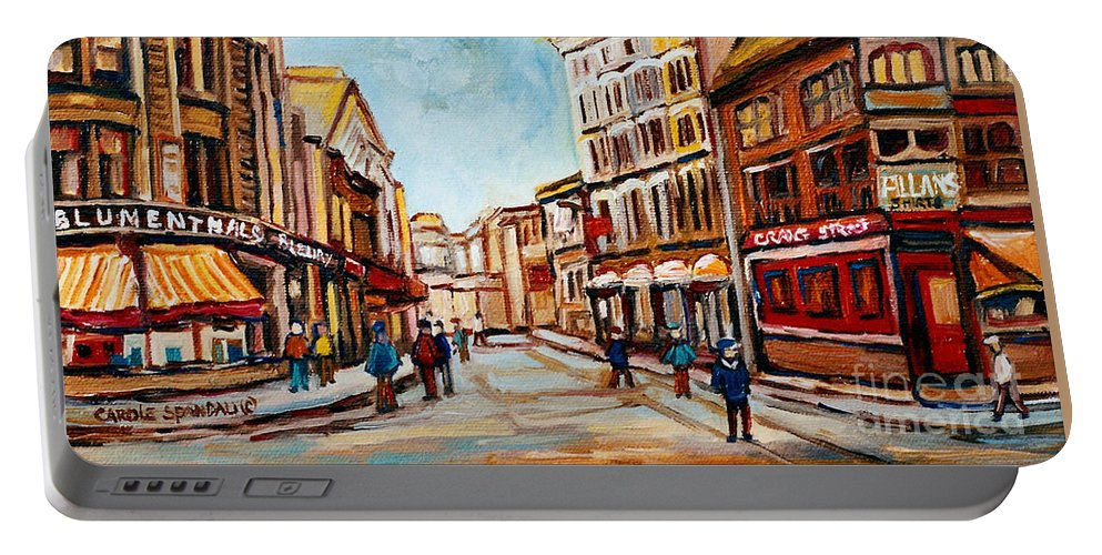 Montreal Portable Battery Charger featuring the painting Blumenthals On Craig Street by Carole Spandau