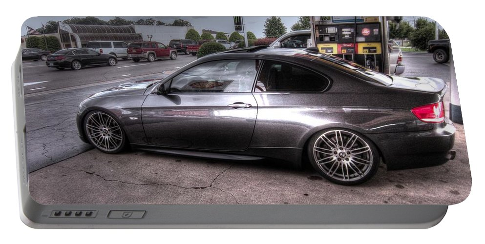 Here Is A Stunning Bmw 335 Ci Twin Turbo Car I Saw Today At The Local Shell Gas Station. It Has Carbon Fiber Ground Effects Portable Battery Charger featuring the photograph Bmw 335 Ci Twin Turbo Carbon Fiber Sports Car by Robert Loe