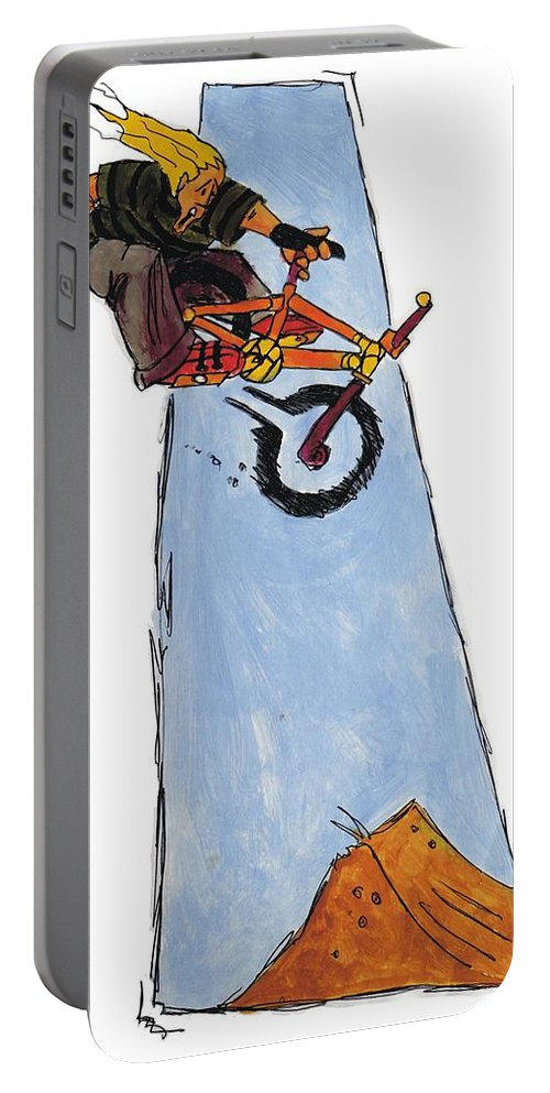 Mike Jory Bmx Portable Battery Charger featuring the painting Bmx Drawing by Mike Jory