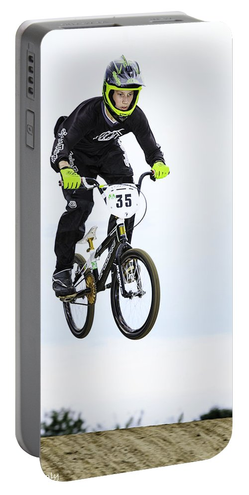 Bmx Portable Battery Charger featuring the photograph Bmx Racer Goes Airborne by Fran Gallogly