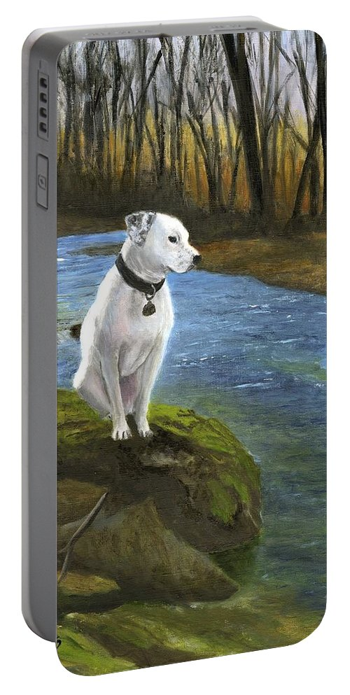 Dog Portable Battery Charger featuring the painting Bo At The Patapsco by Deborah Butts