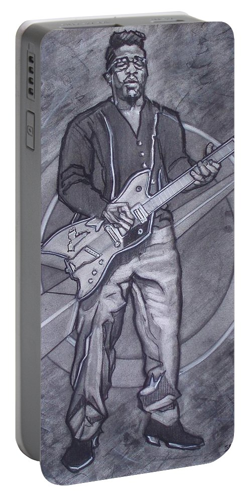 Texas;charcoal;king Of Rock;rock And Roll;music;1950s;blues;musician;funk;electric Guitar;marble;soul Portable Battery Charger featuring the drawing Bo Diddley - Have Guitar Will Travel by Sean Connolly