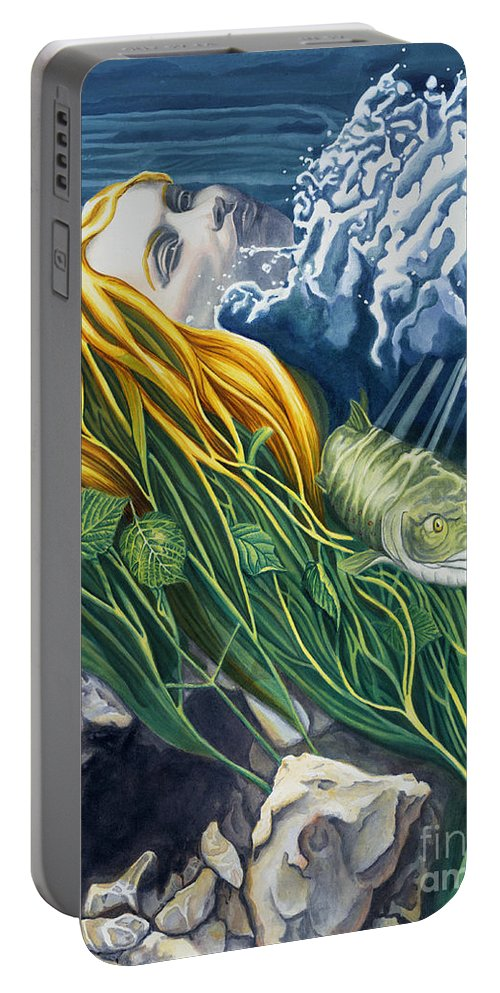 Boann Portable Battery Charger featuring the painting Boann Transformation Of A Goddess by Do'an Prajna - Antony Galbraith