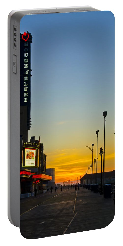 Boardwalk Portable Battery Charger featuring the photograph Boardwalk House Of Blues At Sunrise by Bill Cannon