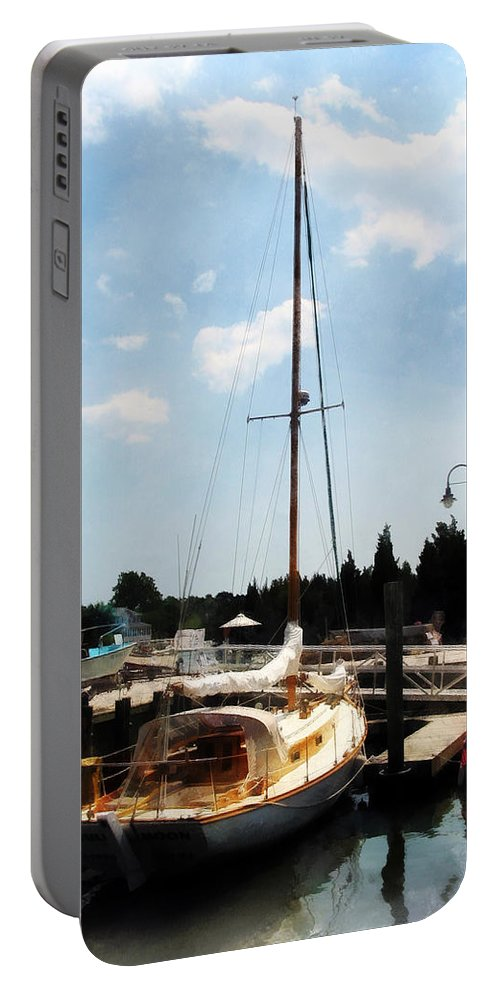 Cabin Cruiser Portable Battery Charger featuring the photograph Boat - Docked Cabin Cruiser by Susan Savad