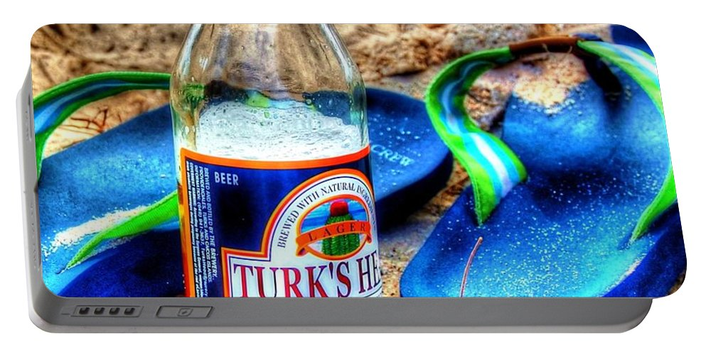 Flip Flops Portable Battery Charger featuring the photograph Boat Drinks by Debbi Granruth