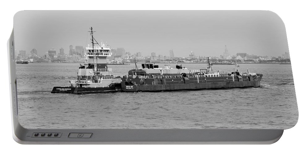 Harbor Portable Battery Charger featuring the photograph Boat Meet Barge In Black And White by Rob Hans
