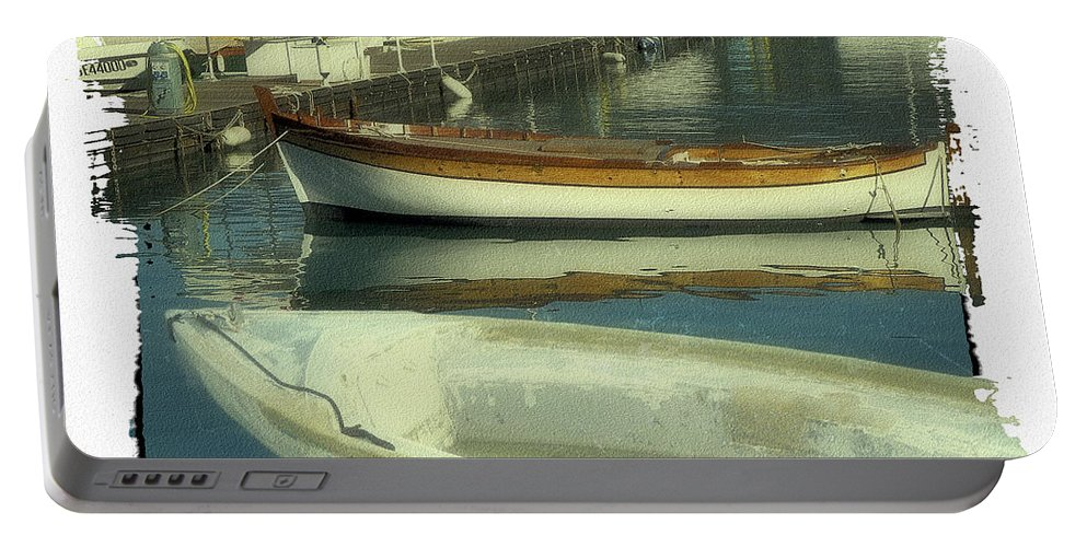 Boat Pier Portable Battery Charger featuring the digital art Boat Pier by KJ DePace