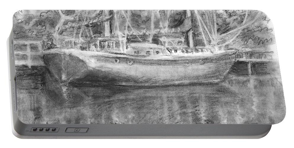 Landscape Portable Battery Charger featuring the drawing Boat Reflection by Sarah Parks