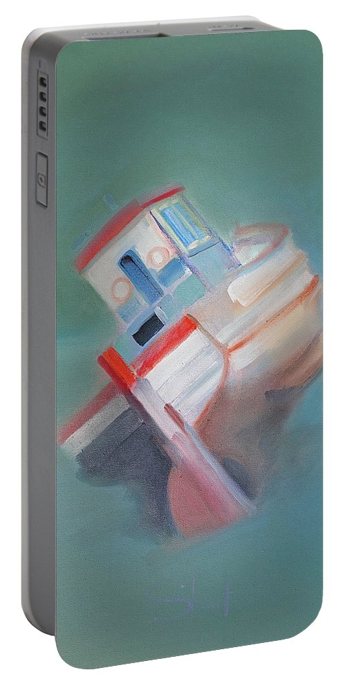 Fishing Boat Portable Battery Charger featuring the painting Boat Retired Tavira by Charles Stuart