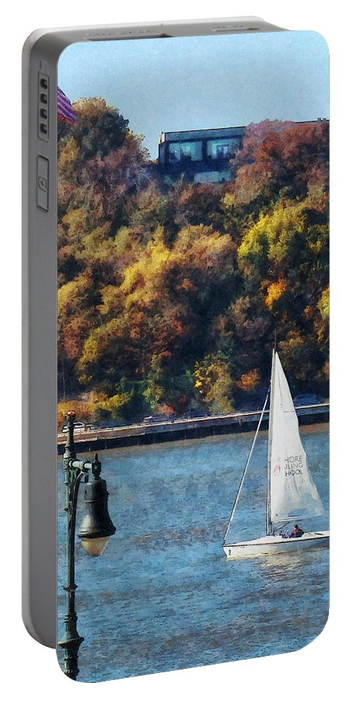 Boat Portable Battery Charger featuring the photograph Boat - Sailboat Near Chelsea Pier by Susan Savad