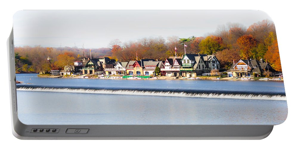 Boathouse Portable Battery Charger featuring the photograph Boathouse Row In Autumn by Bill Cannon