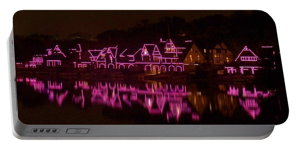 Philly Portable Battery Charger featuring the photograph Boathouse Row In Pink by Ed Sweeney