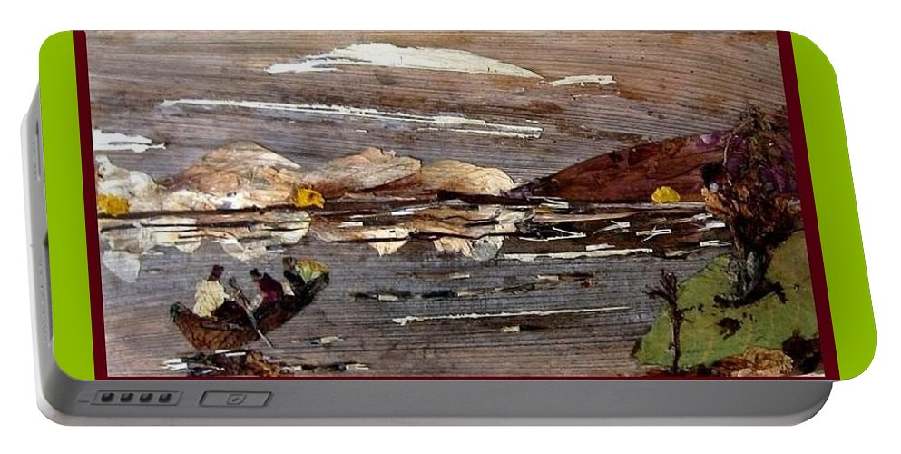Boating Scene Portable Battery Charger featuring the mixed media Boating In River by Basant Soni
