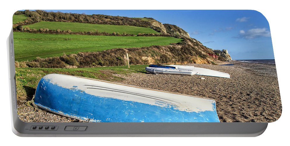 Branscombe Portable Battery Charger featuring the photograph Boats Along Branscombe Beach by Susie Peek