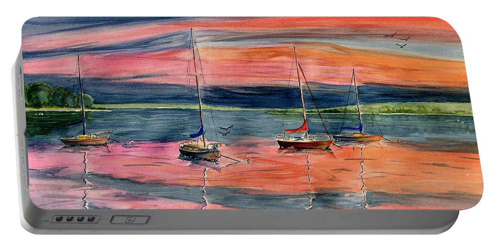 Sunset Portable Battery Charger featuring the painting Boats At Skaneateles Lake Ny by Melly Terpening