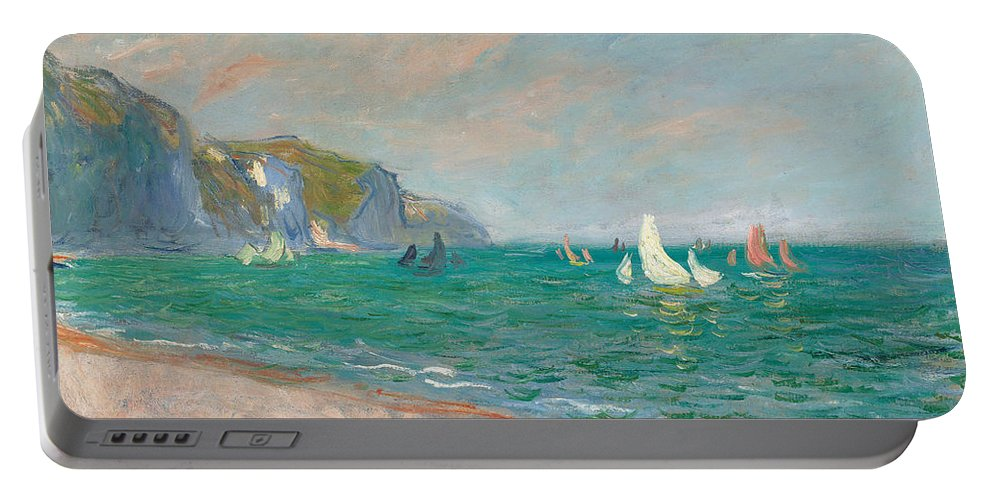 French Portable Battery Charger featuring the painting Boats Below The Pourville Cliffs by Claude Monet