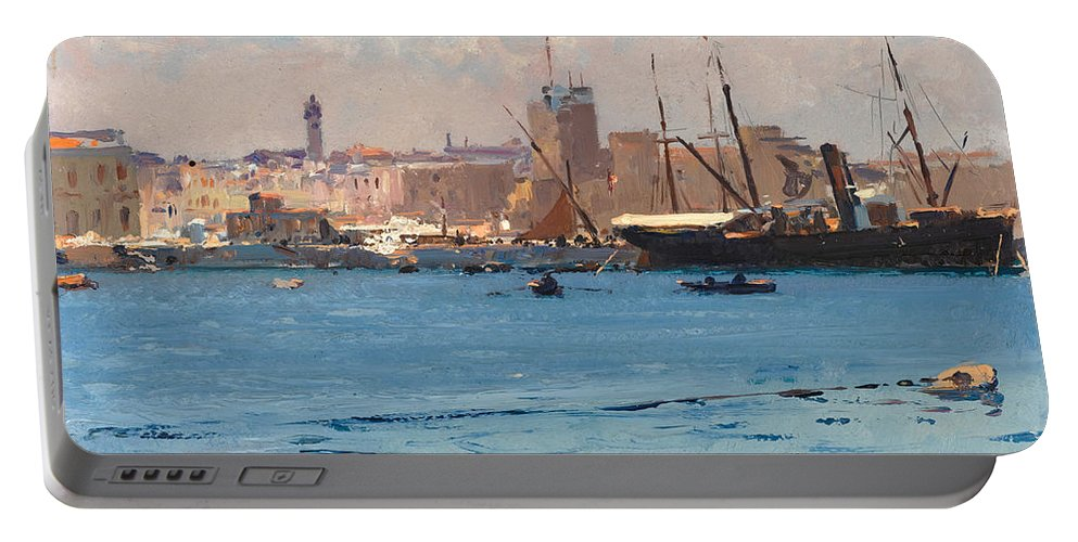 Fausto Zonaro Portable Battery Charger featuring the painting Boats In A Port by Fausto Zonaro
