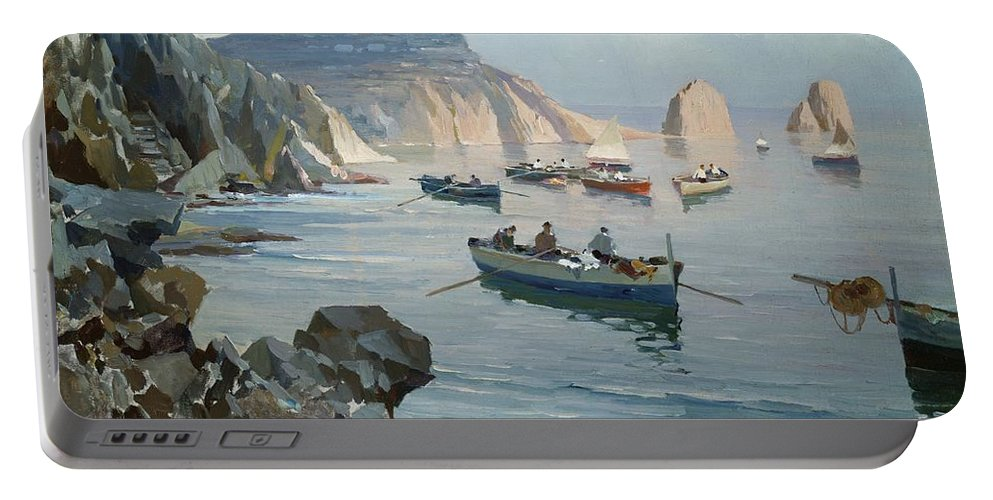 Boat Portable Battery Charger featuring the painting Boats In A Rocky Cove by Edward Henry Potthast