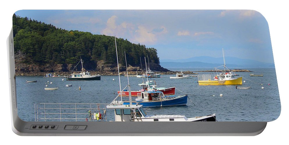 Landscape Portable Battery Charger featuring the photograph Boats In Bar Harbor by Jemmy Archer
