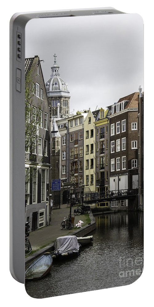 2014 Portable Battery Charger featuring the photograph Boats In Canal Amsterdam by Teresa Mucha