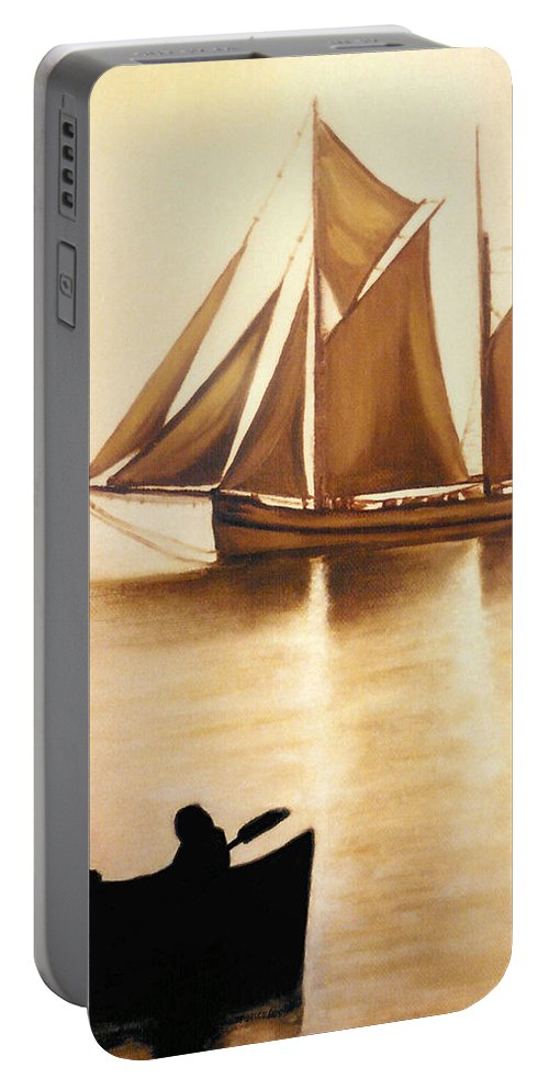 Painting Portable Battery Charger featuring the painting Boats In Sun Light by Janice Dunbar
