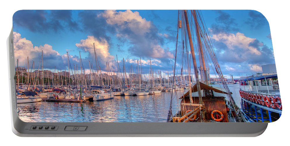 Harbor Portable Battery Charger featuring the photograph Boats In The Harbor Of Barcelona by Michal Bednarek