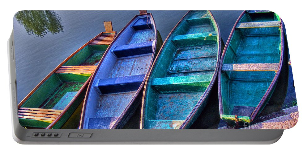 Boat Portable Battery Charger featuring the photograph Boats On River by Nina Ficur Feenan