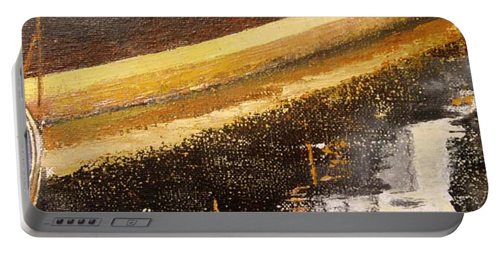 Boat Portable Battery Charger featuring the painting Boats reflections by Tomas Castano