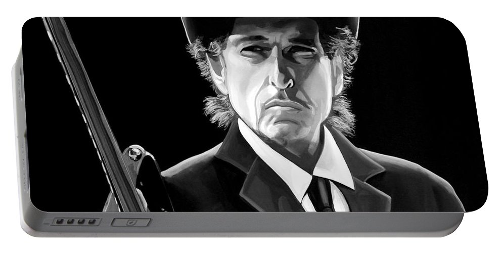 Bob Dylan Portable Battery Charger featuring the mixed media Bob Dylan 2 by Meijering Manupix