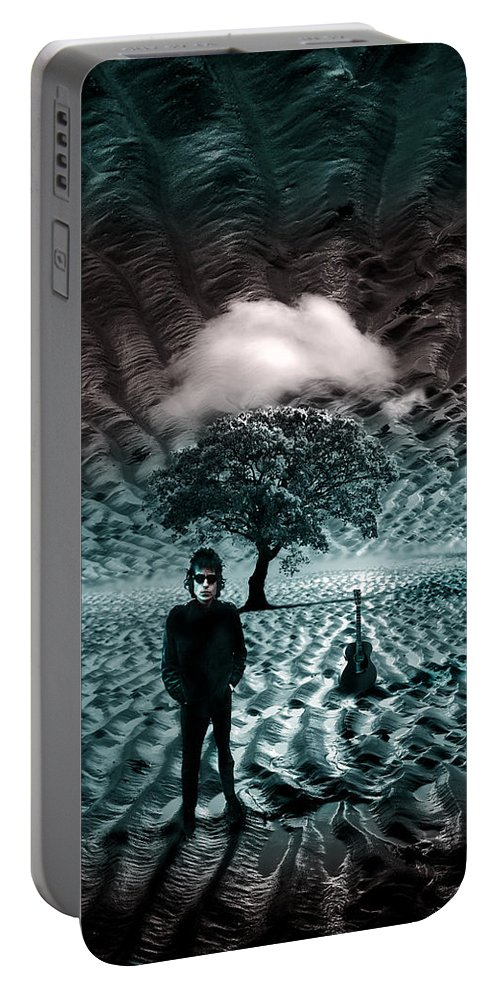 Bob Dylan Portable Battery Charger featuring the photograph Bob Dylan A Hard Rain's A-Gonna Fall by Mal Bray