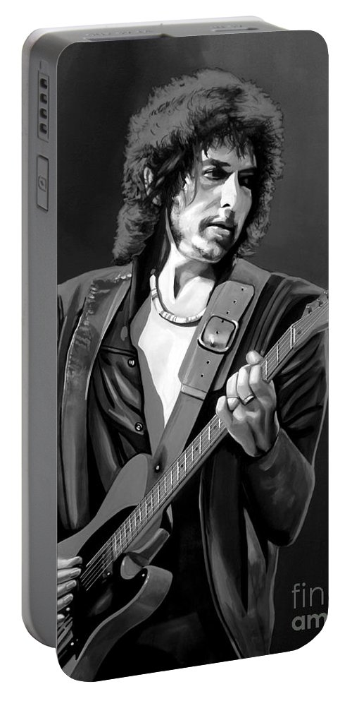 Bob Dylan Portable Battery Charger featuring the mixed media Bob Dylan by Meijering Manupix