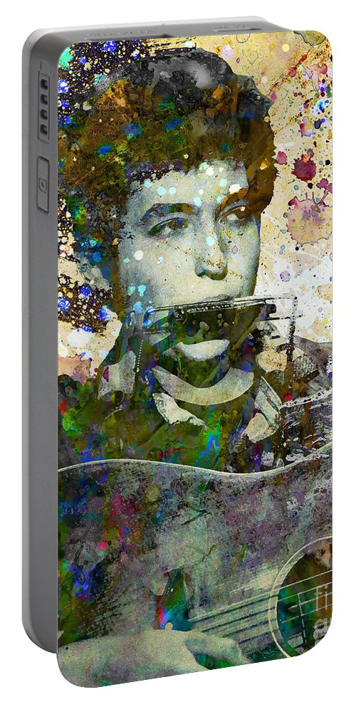 60s Portable Battery Charger featuring the painting Bob Dylan Original Painting Print by Ryan Rock Artist