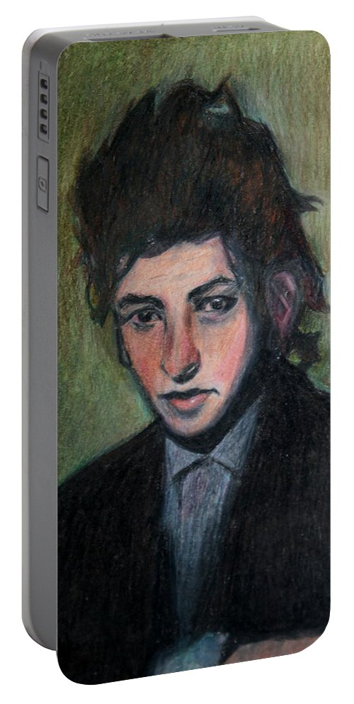 Bob Dylan Portable Battery Charger featuring the drawing Bob Dylan Portrait In Colored Pencil by Neal Eslinger