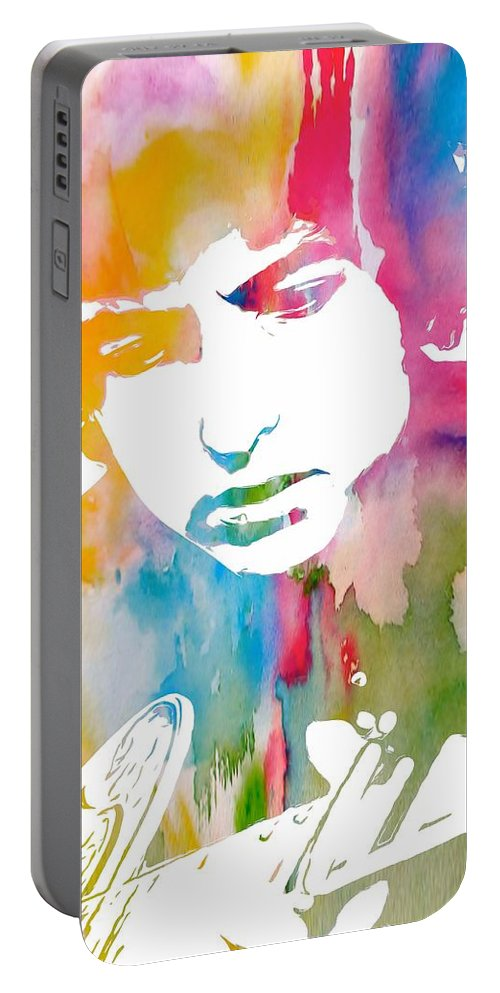 Bob Dylan Watercolor Portable Battery Charger featuring the painting Bob Dylan Watercolor by Dan Sproul