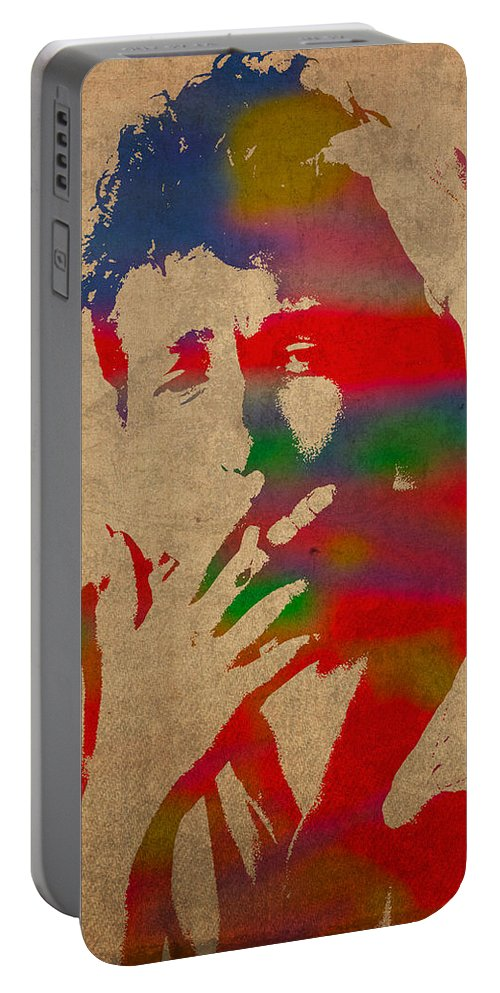 Bob Dylan Watercolor Portrait On Worn Distressed Canvas Portable Battery Charger featuring the mixed media Bob Dylan Watercolor Portrait On Worn Distressed Canvas by Design Turnpike