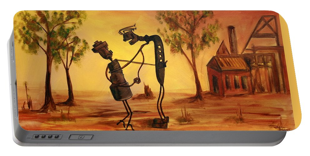 Broken Hill Portable Battery Charger featuring the painting Bob 'n' Betty - Broken Hill by Lyndsey Hatchwell