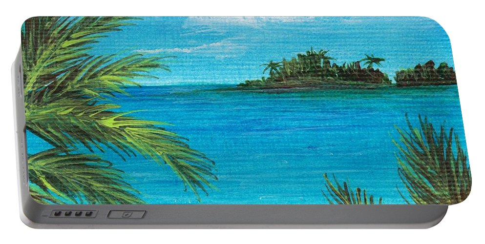 Interior Portable Battery Charger featuring the painting Boca Chica Beach by Anastasiya Malakhova